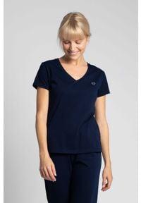 MOE - Bawełniana Koszulka do Spania z Krótkim Rękawem - Granatowy. Kolor: niebieski. Materiał: bawełna. Długość: krótkie