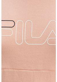 Różowa bluza Fila na co dzień, z kapturem, casualowa, długa