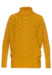 Pomarańczowy sweter bonprix z golfem