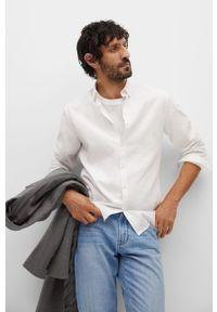 Biała koszula Mango Man na co dzień, z klasycznym kołnierzykiem, z długim rękawem