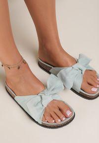 Renee - Miętowe Klapki Aglalacia. Nosek buta: otwarty. Kolor: miętowy. Materiał: materiał. Wzór: kwiaty, aplikacja. Sezon: lato