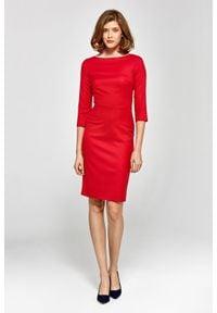 Colett - Elegancka dopasowana sukienka midi. Materiał: materiał. Długość rękawa: krótki rękaw. Styl: elegancki. Długość: midi