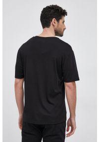 Karl Lagerfeld - T-shirt. Okazja: na co dzień. Kolor: czarny. Materiał: lyocell, bawełna, dzianina, materiał, tkanina, jedwab. Styl: casual
