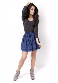 IVON - Niebieska Krótka Spódnica z Falbanami na Gumce. Kolor: niebieski. Materiał: elastan, wiskoza. Długość: krótkie