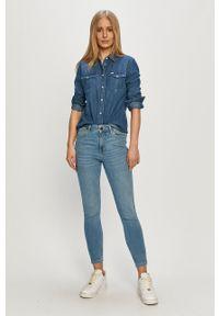 Lee - Koszula jeansowa. Okazja: na co dzień. Kolor: niebieski. Materiał: jeans. Długość rękawa: długi rękaw. Długość: długie. Styl: casual