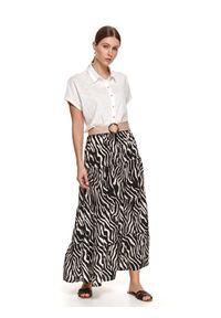 TOP SECRET - Długa spódnica z nadrukiem w zebrę. Okazja: do pracy. Kolor: czarny. Materiał: dzianina. Długość: długie. Wzór: motyw zwierzęcy, nadruk. Sezon: lato. Styl: wakacyjny