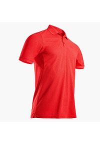 INESIS - Koszulka polo do golfa WW500 męska. Typ kołnierza: golf, polo. Kolor: czerwony. Materiał: poliester, poliamid, materiał, elastan