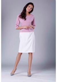 Różowa sukienka wizytowa Nommo prosta, midi, casualowa
