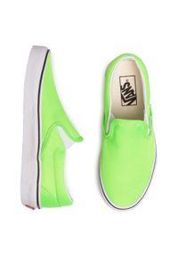 Zielone trampki Vans bez zapięcia, z cholewką
