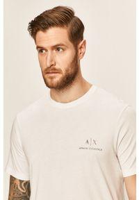 Biały t-shirt Armani Exchange casualowy, na co dzień