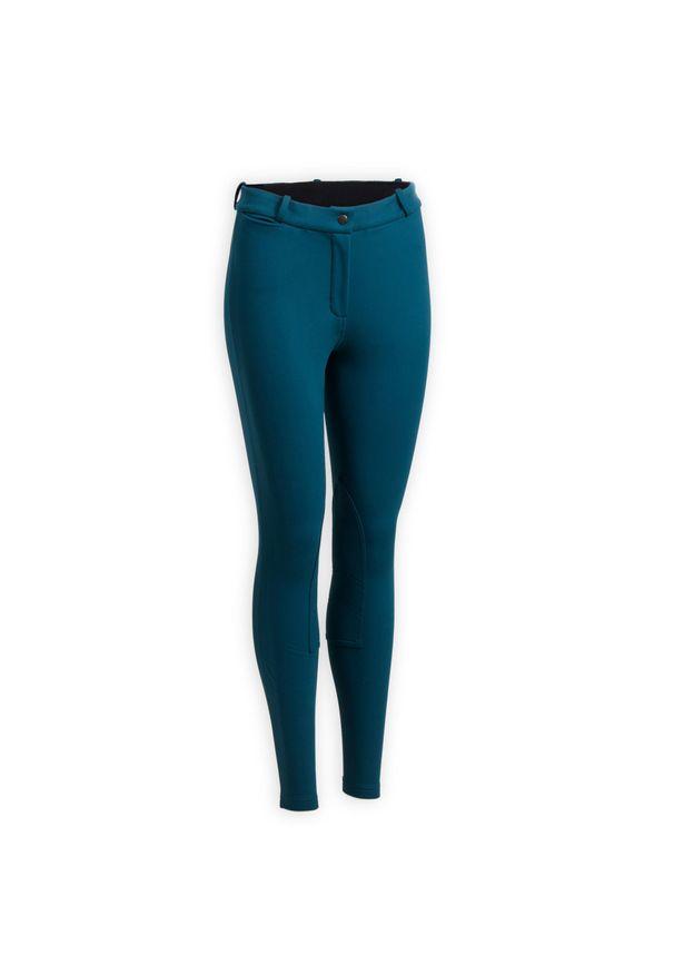 Ciepłe bryczesy damskie FOUGANZA 100. Kolor: niebieski, wielokolorowy, turkusowy. Materiał: poliester, elastan, materiał
