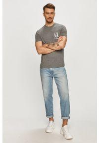 Szary t-shirt Armani Exchange z nadrukiem, casualowy, na co dzień