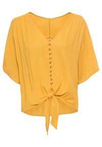 Żółta bluzka bonprix na lato, krótka, z krótkim rękawem