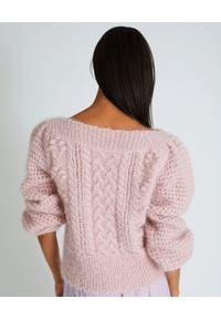 LOVE SHACK FANCY - Różowy sweter Vyoma. Kolor: fioletowy, różowy, wielokolorowy. Materiał: wełna. Wzór: ze splotem