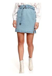 TOP SECRET - Mini spódniczka damska gładka. Stan: podwyższony. Kolor: niebieski. Materiał: tkanina. Wzór: gładki. Sezon: lato. Styl: wakacyjny