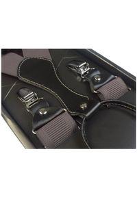Modini - Grafitowe/szare karbowane szelki do spodni SZ13. Kolor: szary. Materiał: skóra, guma