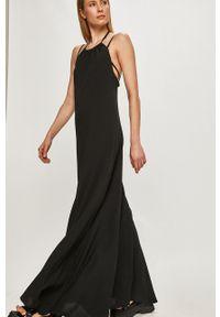 Trussardi Jeans - Sukienka. Kolor: czarny. Materiał: tkanina. Długość rękawa: na ramiączkach. Wzór: gładki. Typ sukienki: rozkloszowane