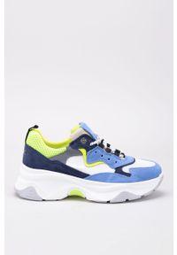 Niebieskie buty sportowe GOE na sznurówki, z okrągłym noskiem, z cholewką