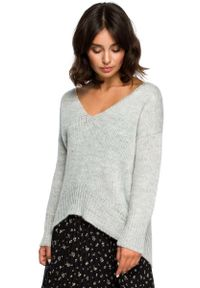 Szary sweter oversize MOE z dekoltem w serek, długi, elegancki