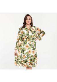 Sukienka dla puszystych Moda Size Plus Iwanek z falbankami, na wiosnę, na spacer