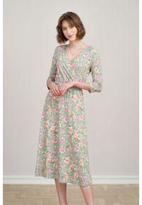 Marie Zélie - Sukienka Rita Isara jasnozielona. Kolor: zielony. Wzór: kwiaty