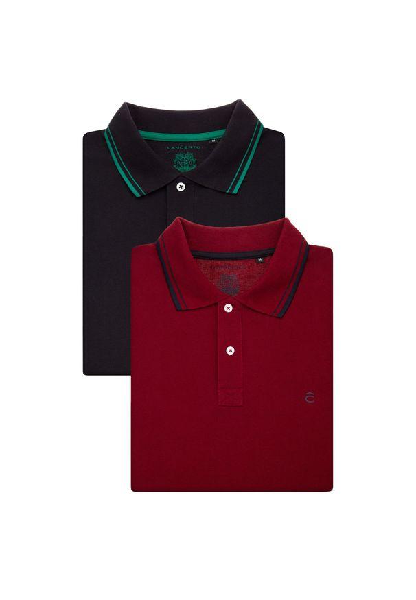 Lancerto - Zestaw 2 Koszulek Polo Lucas Slim. Typ kołnierza: polo. Materiał: bawełna, tkanina. Wzór: ze splotem, paski. Styl: elegancki