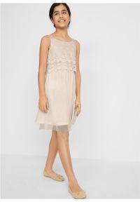 Sukienka dziewczęca na uroczyste okazje bonprix biel wełny. Kolor: biały. Materiał: wełna #5