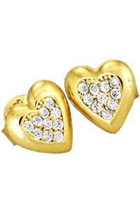 Braccatta - AMORE Kolczyki złote serca z cyrkoniami. Materiał: złote. Kolor: złoty. Kamień szlachetny: cyrkonia