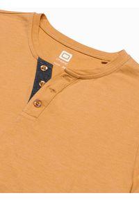 Ombre Clothing - T-shirt męski bez nadruku S1390 - żółty - XXL. Typ kołnierza: polo. Kolor: żółty. Materiał: bawełna, jeans, poliester