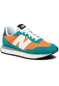 New Balance - Sneakersy NEW BALANCE - MS237AB Pomarańczowy Zielony. Okazja: na spacer, na co dzień. Kolor: zielony, wielokolorowy, pomarańczowy. Materiał: skóra, materiał, zamsz. Szerokość cholewki: normalna. Styl: elegancki, sportowy, casual