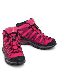 salomon - Trekkingi SALOMON - X-Ultra Mid Gtx J GORE-TEX 398651 14 W0 Virtual Pink/Beet Red/Living Coral. Okazja: na spacer. Kolor: różowy. Materiał: skóra, materiał. Szerokość cholewki: normalna. Sezon: zima