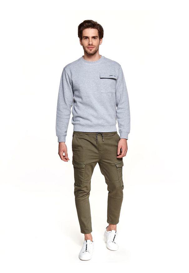 TOP SECRET - Bluza strukturalna z kieszenią. Okazja: na co dzień. Kolor: szary. Materiał: tkanina. Długość: długie. Sezon: wiosna. Styl: casual