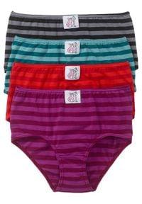"""Figi """"maxi"""" (4 pary) bonprix czerwono-niebieskozielono-jeżynowy- czarny w paski. Kolor: czerwony. Wzór: paski"""