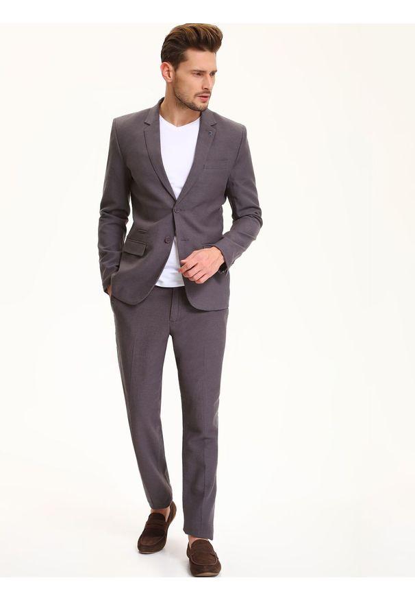 Szare spodnie TOP SECRET w kolorowe wzory, długie