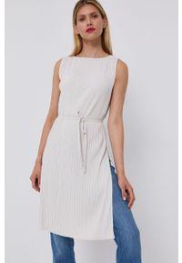 Max Mara Leisure - Sukienka. Okazja: na co dzień. Kolor: beżowy. Materiał: tkanina, dzianina. Wzór: gładki. Typ sukienki: proste, plisowane. Styl: casual