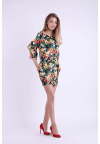 Sukienka wizytowa Nommo mini, w kwiaty, ołówkowa, z falbankami