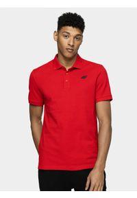 4f - Koszulka polo męska. Okazja: na co dzień. Typ kołnierza: polo. Kolor: czerwony. Materiał: dzianina. Styl: casual
