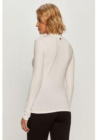 Biała bluzka z długim rękawem Guess Jeans casualowa, z okrągłym kołnierzem
