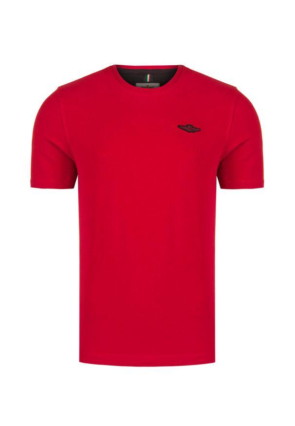 Aeronautica Militare - T-shirt AERONAUTICA MILITARE. Materiał: prążkowany, bawełna. Wzór: jednolity, aplikacja