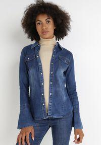 Born2be - Granatowa Koszula Jeansowa Argeira. Okazja: na co dzień. Kolor: niebieski. Materiał: jeans. Długość: długie. Styl: klasyczny, casual