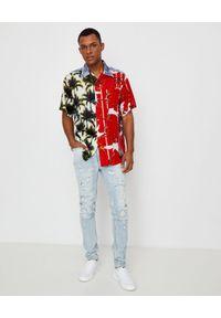 BUSCEMI - Koszula z kolorowym nadrukiem. Kolor: czerwony. Materiał: jeans, materiał. Wzór: kolorowy, nadruk