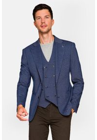 Lancerto - Marynarka Granatowa Wzór Sardinia. Typ kołnierza: golf. Kolor: niebieski. Materiał: bawełna, jeans, dzianina, materiał, tkanina, poliester. Wzór: kolorowy