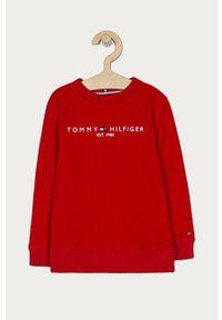 Czerwona bluza TOMMY HILFIGER casualowa, bez kaptura, na co dzień, z aplikacjami