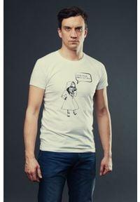 Biały t-shirt Hultaj Polski do pracy, w kolorowe wzory
