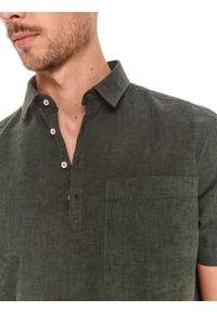 TOP SECRET - Koszula z krótkim rękawkiem, z lnem. Kolor: zielony. Materiał: len. Długość rękawa: krótki rękaw. Długość: krótkie. Sezon: lato #5