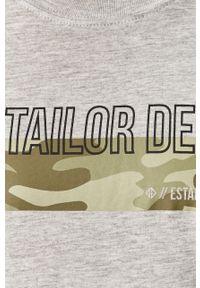 Szary t-shirt Tom Tailor Denim z okrągłym kołnierzem, casualowy, z nadrukiem, na co dzień