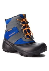 columbia - Śniegowce COLUMBIA - Childrens Rope Tow III Waterproof BC1322 Azul/Orange Blast 437. Okazja: na spacer. Kolor: szary. Materiał: nubuk, materiał, skóra