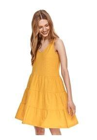 DRYWASH - Krótka sukienka na ramiączkach z falbaną. Kolor: żółty. Materiał: tkanina, bawełna. Długość rękawa: na ramiączkach. Sezon: lato. Styl: wakacyjny. Długość: mini