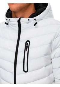 Ombre Clothing - Kurtka męska puchowa pikowana C356 - biała - XXL. Okazja: na co dzień. Typ kołnierza: kaptur. Kolor: biały. Materiał: puch. Styl: casual
