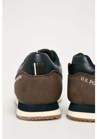 Brązowe sneakersy U.S. Polo Assn na sznurówki, z cholewką